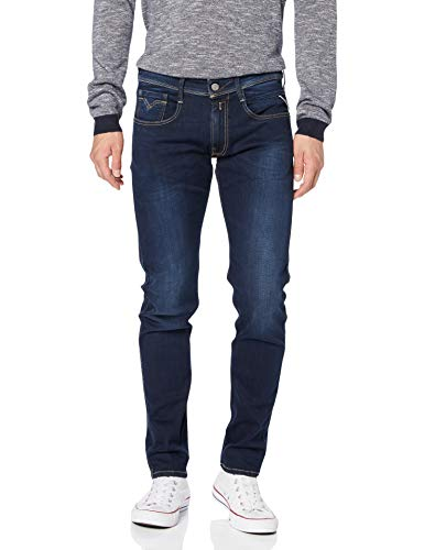 REPLAY Anbass, Herren Jeans Slim Fit, Regular Waist, stylische Stretch-Jeans für Männer, Denim-Jeans, Größen: 27 – 40